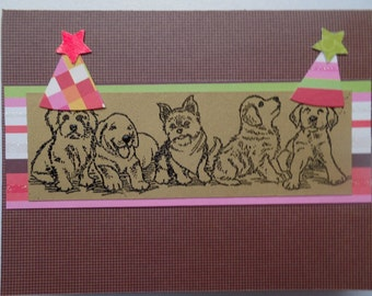 Celebrations, Dogs in Hats, Birthday, SaraPaperCards, Handmade, Greeting Card, Puppies in Hats, Animals, Blank Cards, Time to Party card