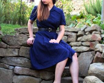 FREE SHIPPING Vintage 80s dress, dark blue dress, knee length dress, vintage dress with collar, medium size