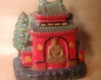 BUDDHA Temple INCENSE BURNER,  Vintage Made in Japan