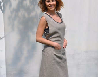 Natural linen color Womans Linen apron dress. Comfortable and Stylish Smock apron. Linen Apron Dress, full apron.