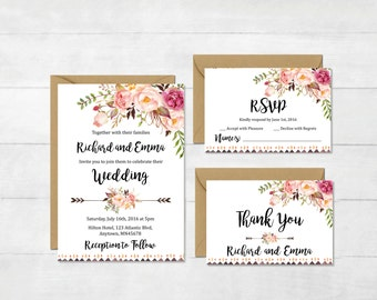Floral Boho Tribal Wedding Invitation Suite, Printable Boho Wedding Invite, Floral Wedding Invite, Peonies Wedding Invite, Download, 109-W