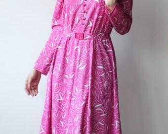 FRENCH VINTAGE 60's / 70's, Pink dress, folk dress,