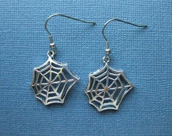 Cob Web Earrings - Spider Web Earrings - Dangle Earrings - Halloween Earrings - Halloween Jewelry - Earrings - Holiday Earrings -- E120