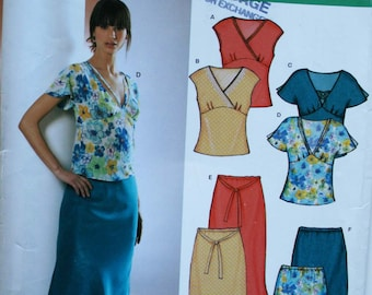 Sewing pattern womens bias blouse top and skirt New Look 6325 UNCUT Size 6-16 (Bust 30.5-38), neckline sleeve and hem variations