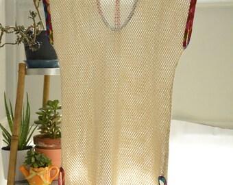 Cotton net bikini coverup with multi colour trim