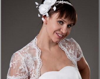 Top Wedding White Ivory Lace Bolero Jacket Bridal Shrug Short Sleeves A-102