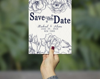 Elegant Floral Save the Date Announcement Invitation