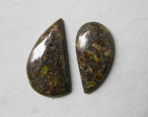 2 Piece Lot, Freeform Shape Greenish Fancy Jasper Cabochon Stones, Dark Green Stone with Dots for Pendant, Diy and wire wrapping Jewelry