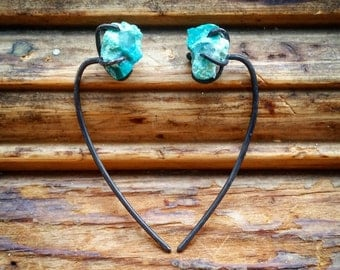 Raw Chrysocolla Sterling Silver Threaders Rough Chrysocolla Threader Earrings Raw Stone Thread Earrings Drop Threaders