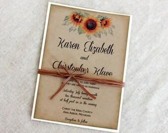 Sunflower Wedding Invitation, Rustic Wedding Invitation Set, Wedding Invitation With sunflowers, Fall Wedding Invitation, Country invitation
