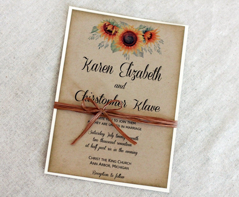Wedding Invitations In Canada: Sunflower Wedding Invitation Rustic Wedding Invitation Set