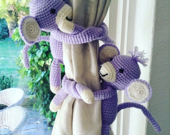A pair of Monkeys tie backs, animal curtain tie backs, nursery curtains ties, gifts for kids, nursery decoration, new baby gift, baby shower