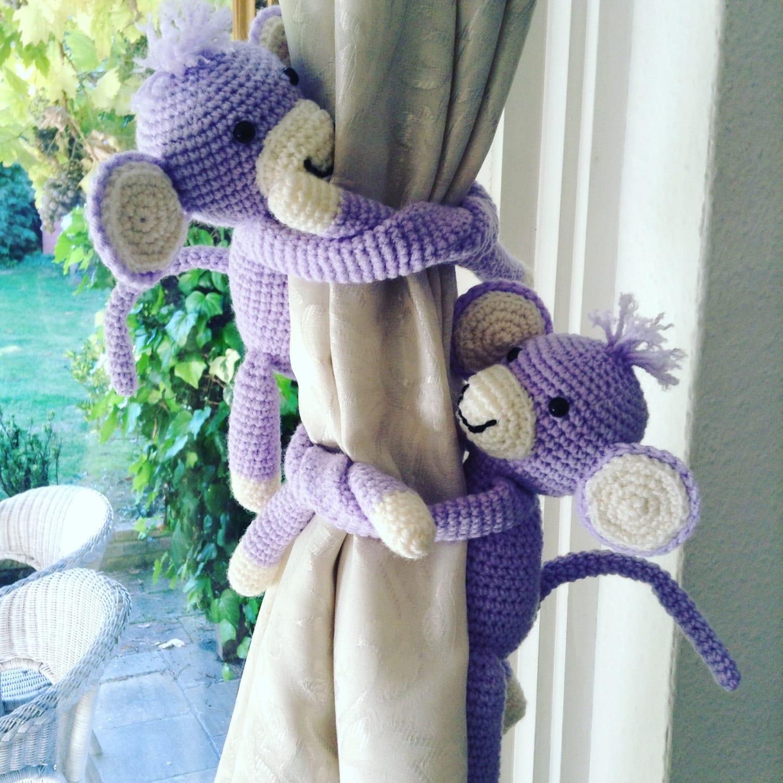 A Pair Of Monkeys Tie Backs Animal Curtain Tie Backs Nursery
