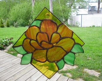 Hand made Stained Glass. Window hanging, Suncatcher. Rosehip blossom