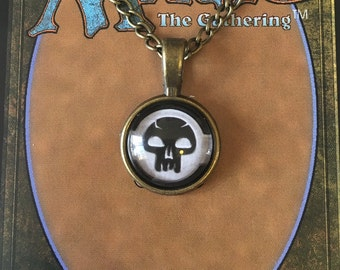 Mini Magic the Gathering Pendant Necklace / Swamp / Skull