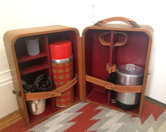 Vintage Coffee Percolator and Checkered Thermos in Brown Leather Carrying Case