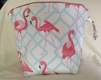 Flamingo zippered wedge bag, shawl size