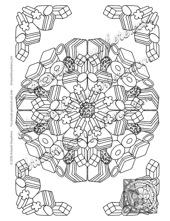 licorice coloring page - candy kaleidoscope licorice allsorts candy burst