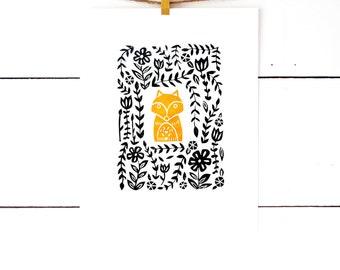 Fox Print, Fox Nursery Print, Childrens Art, Kids Room Prints, Fox Nursery Art, Lino Print, Linocut Print, Kids Room Art, Block Print Art
