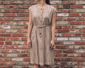 Autumn one-piece dress / Vintage fall-inspired / Japanese vintage / Wool-blend / City dress / Square neckline / Drawstring waist / Size S/M