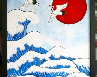 Crane painting, Japanese inspired, wave and bird painting, acrylic and marker on canvas, framed