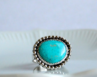 Turquoise Ring, Sterling Silver Turquoise Jewelry, Boho Ring, Statement Ring, Natural Turquoise Ring, Turquoise Ring, Sterling Silver Ring