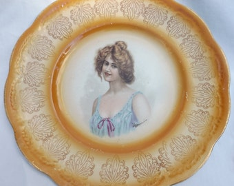Lady Victorian portrait collectors plate signed circa 1900's hand painted,E. Vettori Taylor Smith Taylor,victorian decor,wall plate,SALE