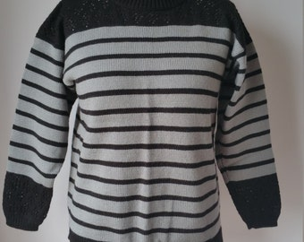 Knitted Black and Grey Stripe Jumper