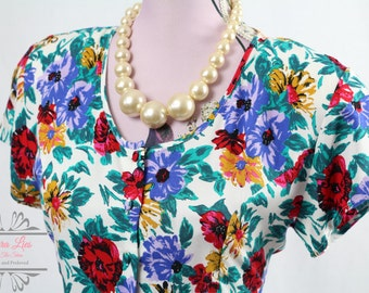 Vintage Floral Drop Waist Day Dress Size S/M