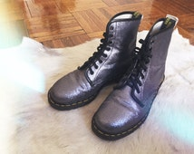 Vintage Special Edition Silver Glitter Dr. Martens 8-hole Lace Up Boots Punk New Age Hippie 70s 80s 90s Like New Size 8 Fits 9 9 1/2 39 40
