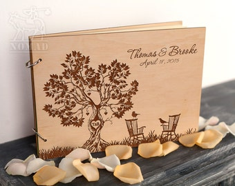 Rustic Wedding Guest Book, Custom Guest Book, Guestbook Wedding, Wood wedding guestbook, Adirondack Chairs, Laser Engraved, Retirement Book