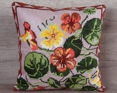Modern heart-to-heart cross-stitch pillow cover, nasturtium flowers embroidery 14 x 14, 36 x 36 ~ french farm house style gift ideas