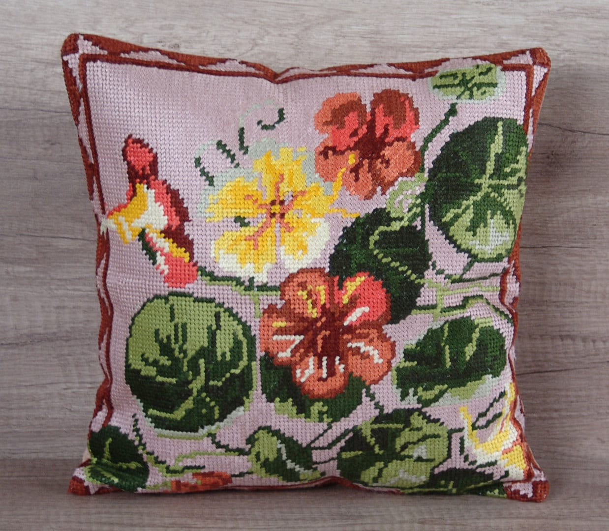 Modern Cross Stitch Pillow : Modern heart-to-heart cross-stitch pillow cover nasturtium