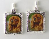 King Charles Cavalier Spaniel Dog Puppy Earrings Silver Jewelry Picture