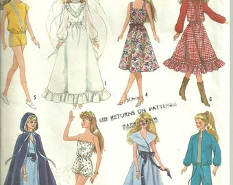 "Fashion Doll Clothes 11.5 to 12.5"" Doll Simplicity 8333 Partially Cut but Complete"