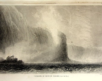 Amazing Niagara falls stell engraving, 164 antique rare landscape print of waterfalls, vintage fall river, universal geography voyage plate