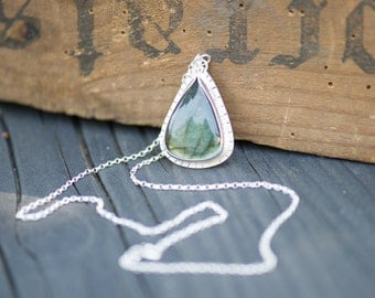 Labradorite Necklace with Hidden Insect, Handmade from Sterling Silver