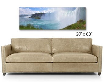 Niagara Falls, Panoramic, Behind The Falls, Large Canvas,  Sofa Art,  Large Wall Art, Panoramic Art, Waterfalls, New York, Landscape