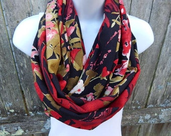 Red Floral Infinity Scarf