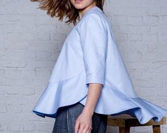 Light blue organic cotton top, oversize T-shirt top, Short sleeves top, Blue top, Summer blouse, Ruffles top