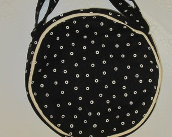 Black and cream circle bag