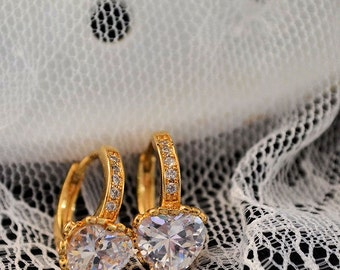 Bridal wedding earrings,  gold filled , Swarovski crystal white or amber color
