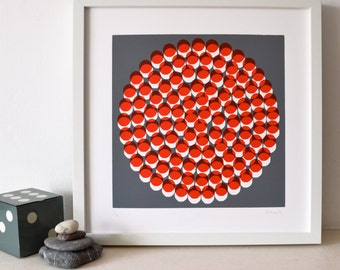 Roundabout - An original screen print in red and grey, modern, abstract,  limited edition silkscreen print