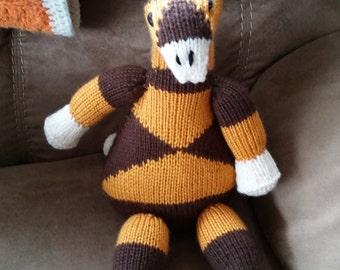 Knitted stuffed giraffe