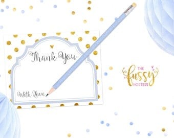 Thank You Notes for Baby Shower, Wedding Cards, Baby Shower Notes, Printable, Instant Download, Printable Shower Card, Blue and Gold