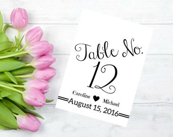 Printable Wedding Table Numbers 1-30 Personalized