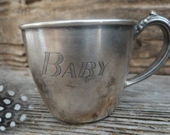 Engraved Vintage Community Plate baby cup/Silver plate