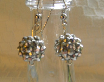 Shiny Disco Ball Dangle Earrings Silver Dark Blue Teal