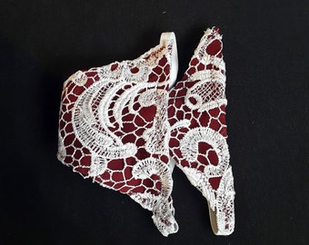 Red and White Lace Thong