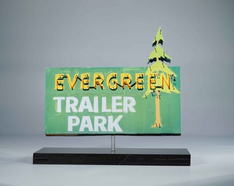 Evergreen Trailer Park Neon sign photo / Trailer park Art / motel sign photo / lake tahoe photo /  cabin decor /  vintage motel sign / tree